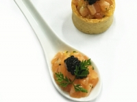 Cured Salmon Tartare with Orange and Smoked Caviar