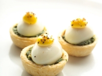 Quail Eggs with Spinach Sabayon in Tartlet