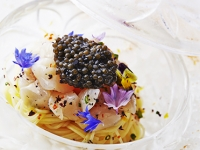 Carelian Caviar on Cold Angel's Hair with Oysters & Chives