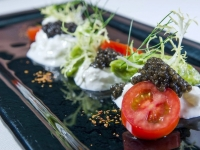 Fresh Burrata with Caviar and San Marzano Tomatoes